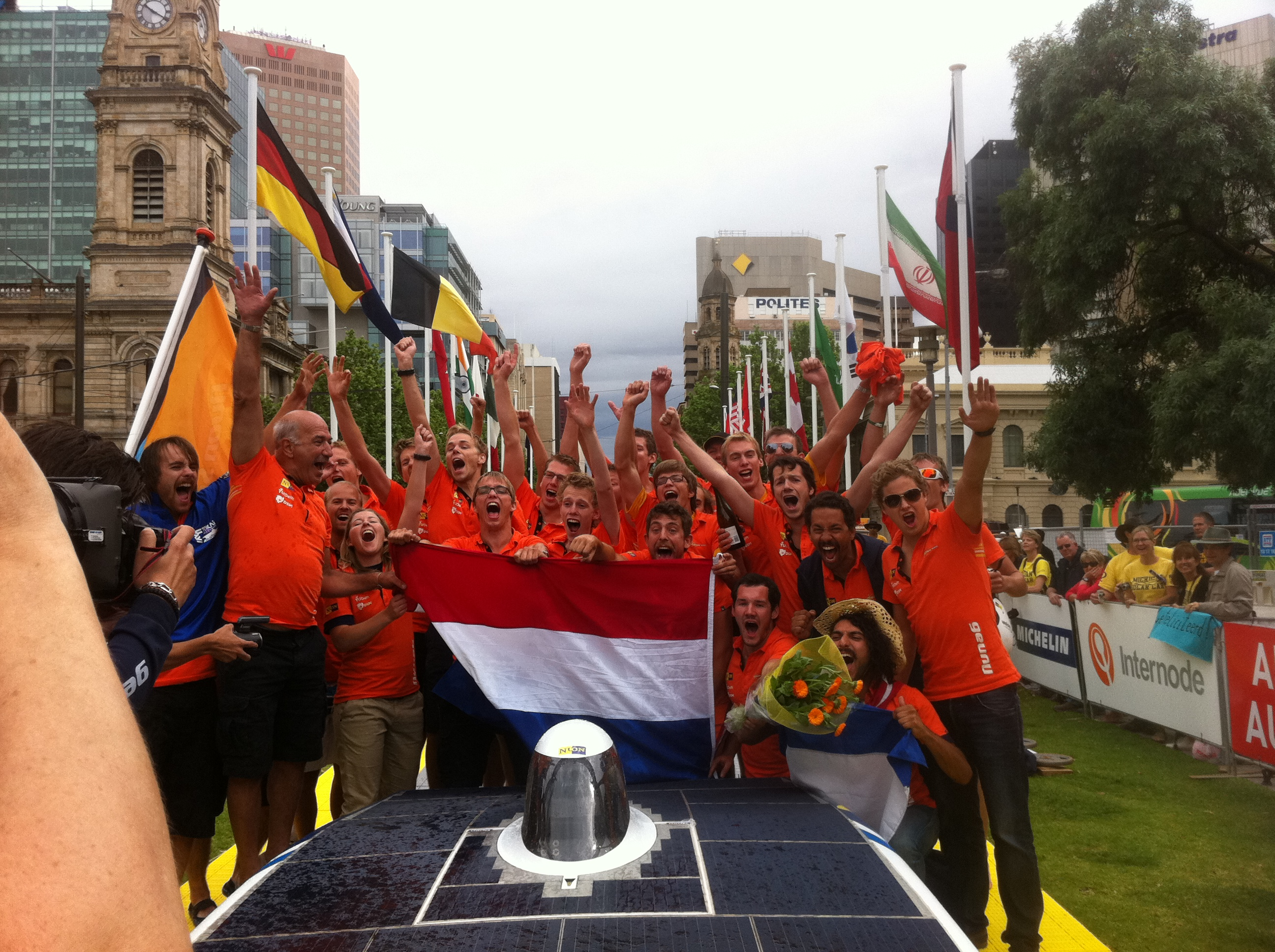 Nuon (2nd Winning team of WSC 2011) arriving at Victoria Square of Adelaide, Australia