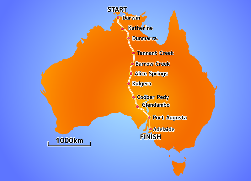 World Solar Challenge 2011 route map