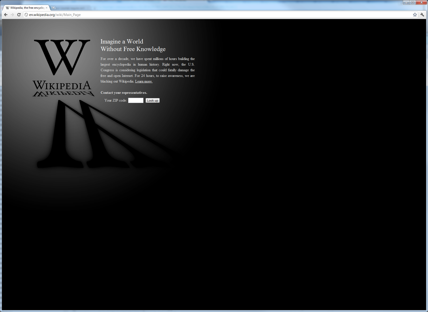 Wikipedia English Blackout Wed Jan 18 2012