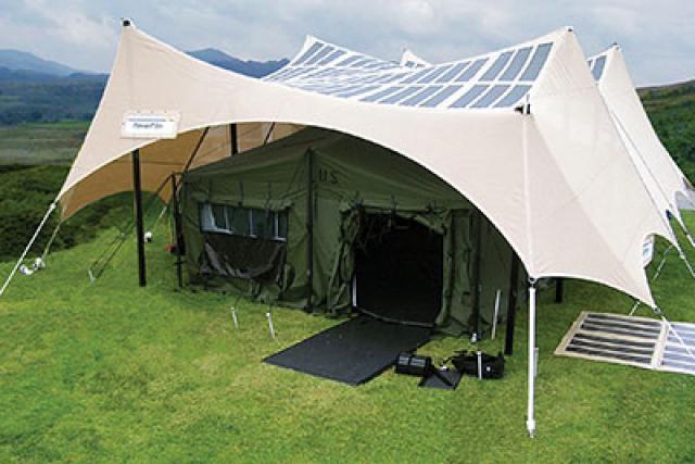 US military solar tent power shade
