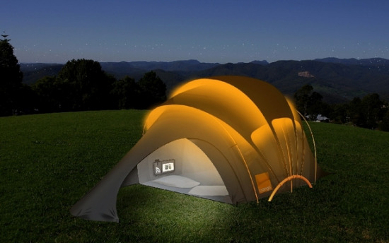 Us military solar tent-mobile home at night