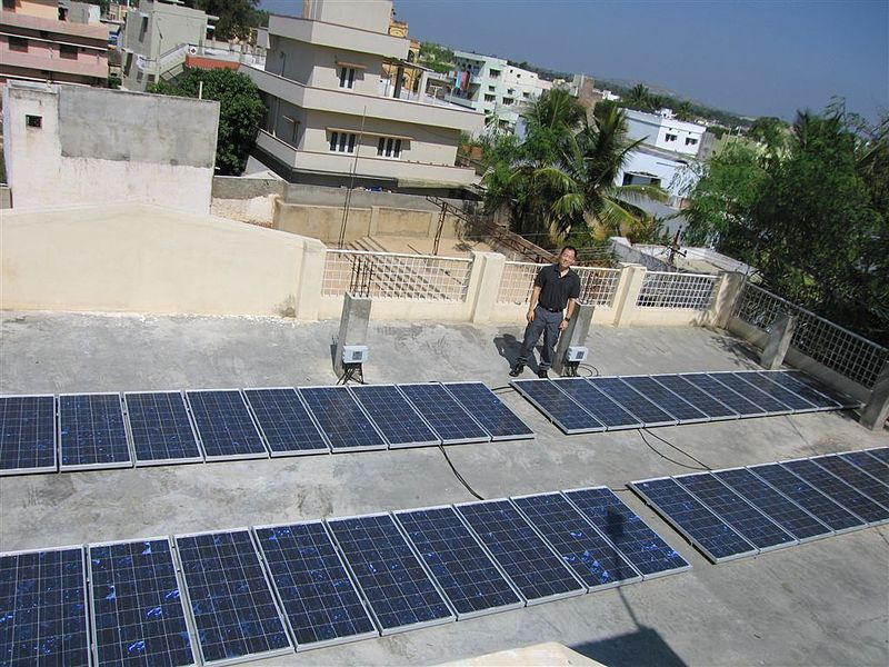 Rooftop Solar Panel array at the Kuppam i-Community Office