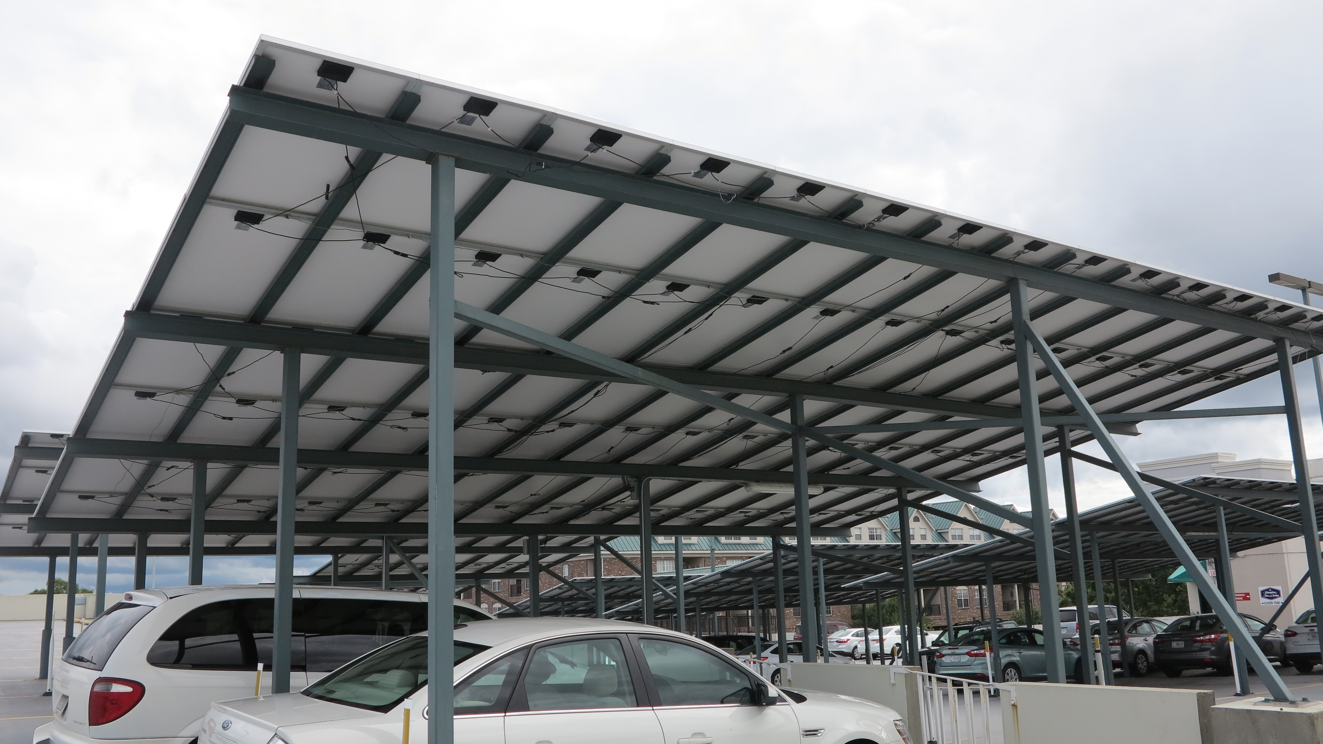 Solar panels of Gainesville Downtown parking garage from below2