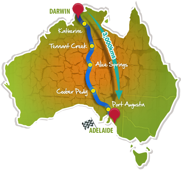 Map of World Solar Challenge of 2011 for The Upcoming World Solar Challenge of 2011 blog