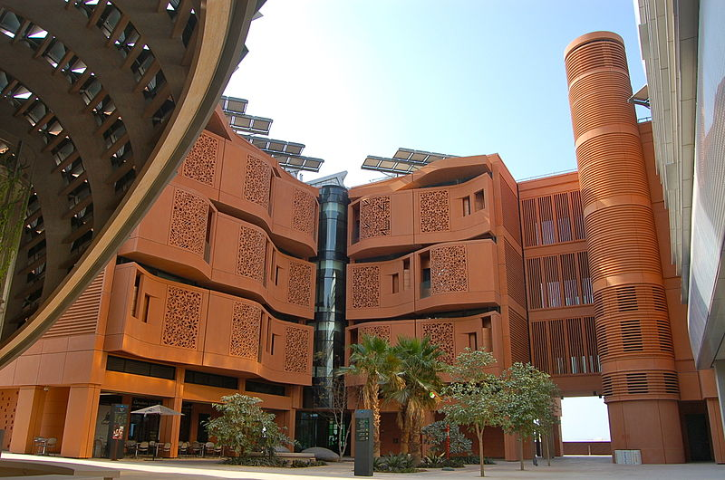 Masdar-Building and courtyard of the Masdar Institute of Science and Technology in Masdar City, Abu Dhabi wikipedia
