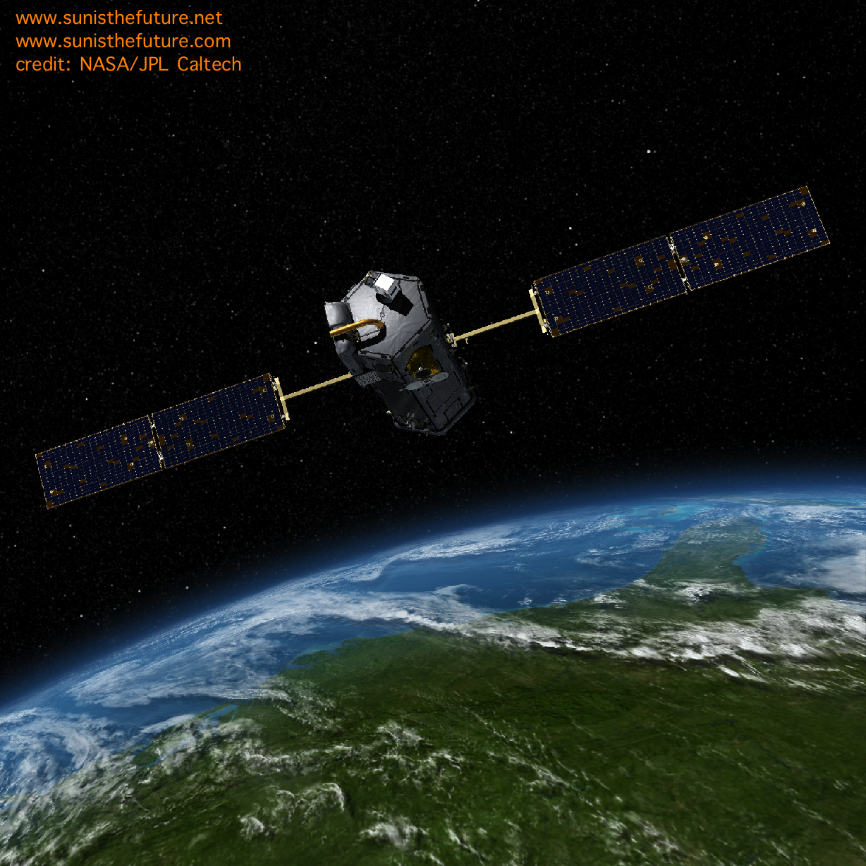 OCO-2 in space credit NASA:JPL Caltech at Sunshine Online Store