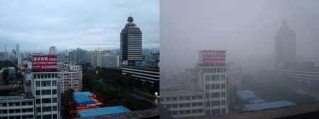 Beijing air on two August 2005 days (after rain on left and smoggy day on right) (CC-Attribution: Bobak)