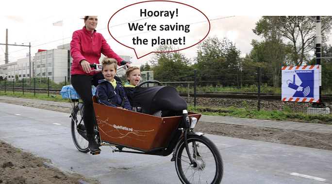 Solar Bikepath of Netherland, first in the world, being installed in Nov. of 2014 (credit: notrickszone.com.)