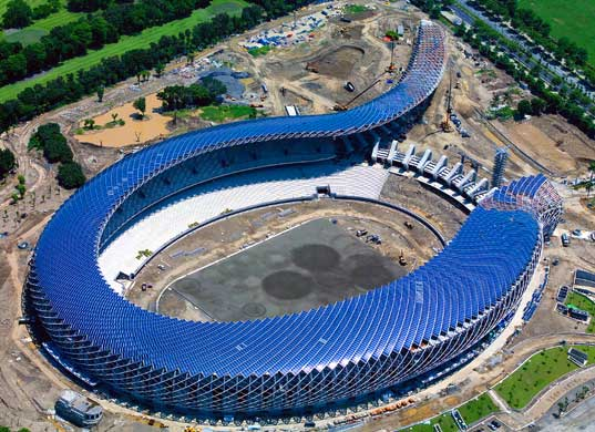 Dragon-shaped Solar Stadium in Kaohsiung, Taiwan (credit:http://imgur.com/a/duB8w )