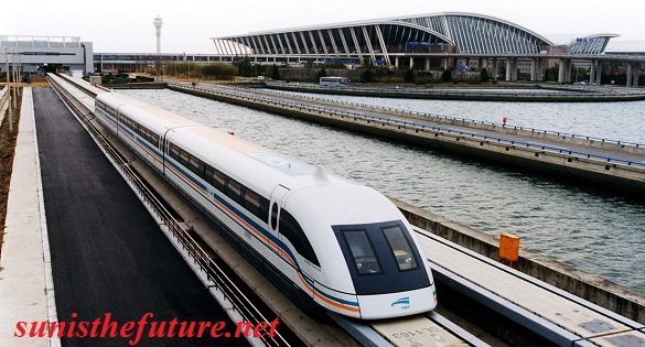 Maglev Train coming out of Pudong International Airport in Shanghai, China