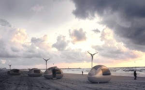Enjoying a beach holiday in Ecocapsule (credit: Ecocapsule of Nice Architects)