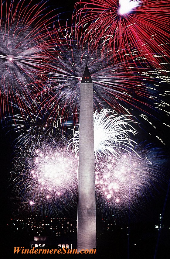 July_fireworks_behind_the_Washington_Monument, Public Domain-U.S.Airforce Employee
