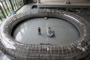 Evacuated Tube Transport model of Southwest Jiaotong University of China (credit: Imagechina)