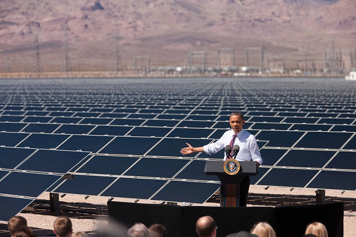 President Barack Obama delivers remarks on energy after a tour of a Solar Panel Field at the Copper Mountain Solar 1 Facility, the largest photovoltaic plant operating in the country with nearly one million solar panels powering 17,000 homes, in Boulder City, Nevada, March 21, 2012. (Official White House Photo by Lawrence Jackson)