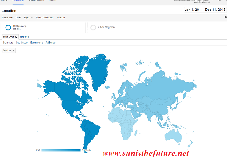 Google Analytics summary of Sun Is The Future coverage map up to 2015 (photographed by: Windermere Sun-Susan Sun Nunamaker)