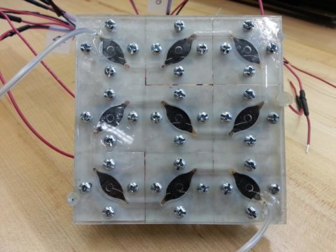 Nine Biological solar cells connected into a bio-solar panel. The panel has generated the most wattage of any existing small-scale bio-solar cells, 5.59 microwatts ( credit Seokheun Sean Choi)