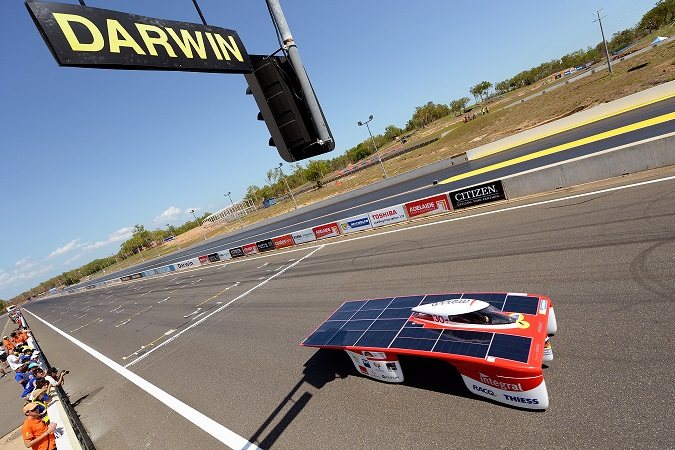 Winning time by Challenger type Solar Car Arrow, during World So