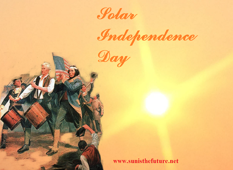 Solar Independence Day, 2015 (credit: composite of photograph by sunisthefuture-Susan Sun Nunamaker (R) & The Spirit of'76 painted by A.M. Willard (L) via photoshop work by Susan Sun Nunamaker)